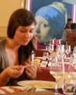 Girl with painting dinner
